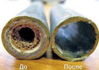 Трубы до и после гидродинамической очистки