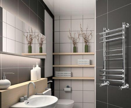 Стальной полотенцесушитель лесенка в ванной