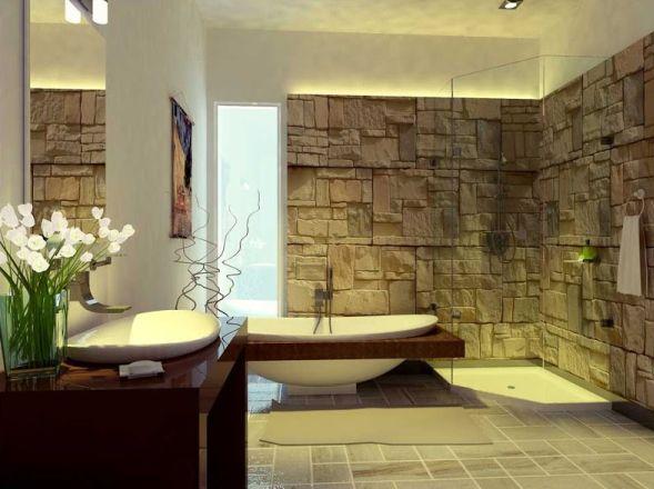 Отделка стен ванной камнем